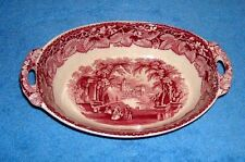 MASONS IRONSTONE VISTA PINK OVAL VEGETABLE BOWL WITH HANDLES