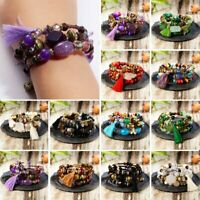 Fashion Bohemian Three Layers Beads Bracelet Natural Stone Tassel Jewelry Gift