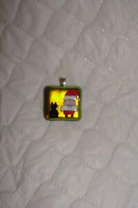 Handpainted Dichroic Glass Santa/Black Cat  Pendant