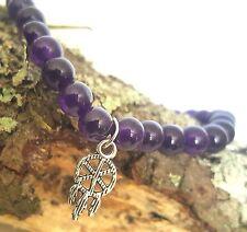 Silver Native Dream Catcher Amethyst Purple Gemstone Bead Stretch Bracelet