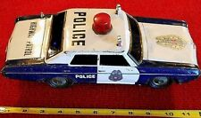 """1960'S BATTERY OPERATED JAPAN TIN CHEVROLET POLICE HIGHWAY PATROL CAR 11"""" TOY"""