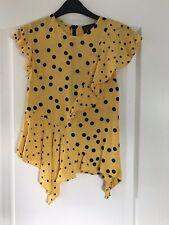 Topshop Yellow & Black Spotty Ladies Top - UK Size 6