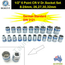 "21PC 1/2"" Drive German Standard Socket Set Metric (8-24mm, 26,27,30,32mm)"