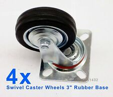 "3"" Heavy Duty Swivel Caster 4 pcs Wheels Rubber Base with Top Plate Bearing-NEW"