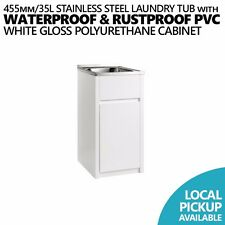 35L Compact Stainless Steel Laundry Tub/Sink w PVC Waterproof Soft Close Cabinet