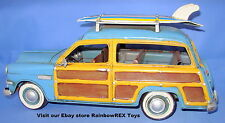 """1949 FORD WOODY WAGON with SURFBOARDS 12"""" Metal Antique Replica Hand Painted"""