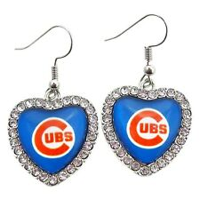 New Chicago Cubs Earrings Crystal Heart Charm Simulated Diamond Pendant Jewelry