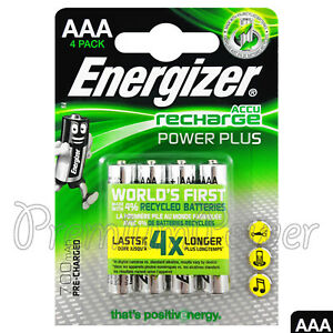 4 x Energizer Power Plus AAA 700mAh batteries Rechargeable Ni-Mh 1.2V Accu HR03