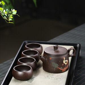 one pot + 4 cups crane relief real yixing zisha marked tea pot master tea cups
