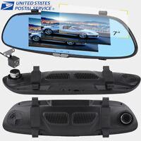 7'' Car DVR Dual Lens HD 1080P Vehicle Dash Cam Rearview Mirror Camera Recorder
