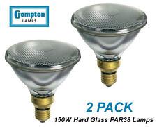 2 x 150W PAR38 Reflector Floodlight Light Globes Bulbs Lamps ES Hard Glass CLEAR