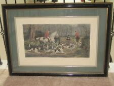 "E G Hester Engraving, Painted E A S Douglas ""Throwing In"" Framed Matted 32 x44""."
