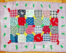 Authentic Early Doll Quilt W/Homespun One Patch - Table Wall Deco - Farm Quilt