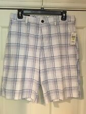 NWT $52 Mens IZOD Performance Golf Shorts 100% Polyester Bright White Plaid 30