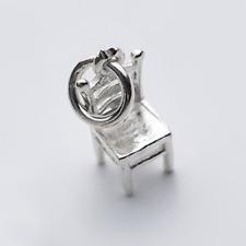 Carino Solido Argento Finissimo Mini Sedia in miniatura Collana Pendente Charm Braccialetto