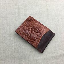 Genuine Red Alligator Crocodile Leather Skin Money Clip Bifold Wallet #M34