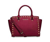 NWT MICHAEL Michael Kors CHERRY RED Selma Stud Medium Top Zip Satchel Bag $328
