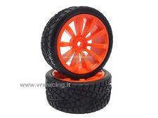 009D005A Coppia ruote complete 1/10 stradale cerchio arancione VRX