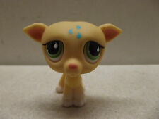 LITTLEST PET SHOP LPS PUPPY DOG YELLOW WHIPPET GREEN TEAR DROP EYES #875