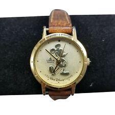 Lorus Disney Quartz Gold Face Mickey Mouse Watch Leather