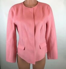 Talbots Womens Sz M Pink Hidden Snap Button Wool Blend Career Work Blazer Jacket