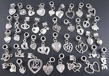 40pcs Tibetan Silver Mix Dangle Charm Beads Fit European Charms Bracelet New100%