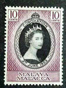 Malaya 1953 Malacca Queen Elizabeth II Coronation Single Issue - 1v MNG