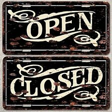 LP0055 Open and Close Sign set Rust Vintage Auto License Plate Home Store Decor