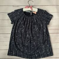 Girls 6-7 Years - Top - JIGSAW JUNIOR Navy Blue Spotted Pleat Short Sleeved