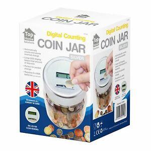 Digital Coin Counter LCD Display Jumbo Jar Sorter Money Box Count Bank Silver