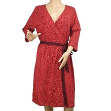 Women's Red Wrap Dress 3/4 Sleeve Top Knee Length Tommy Hilfiger Size XL New