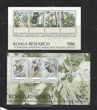 Australia 1986 - 1987 Koala Research Souvenir Sheets, Signed & Numbered