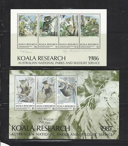 Australia 1986 - 1987 Koala Research Souvenir Sheets, Signed & Numbered