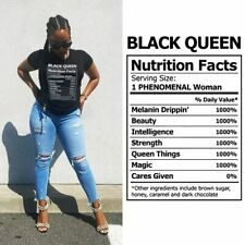 Women Black Queen Definition Nubian Nutrition facts tshirt