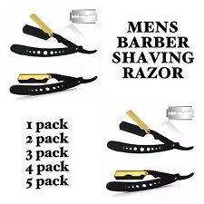 Steel Handle Straight Edge Barber Razor Folding Shaving Knife Gold & Black