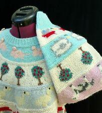 Pastel Kawaii Sweater Farm Animals Deans M L 44B VTG 80s Pigs Sheep Ducks Cows