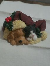 Vintage Young's Holiday Gifts 1998 Puppy and Cat Sleeping 99824 in Original Box