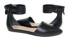 New Franco Sarto Hezra Black Leather Flats Ankle Strap Pointed Toe 7.5