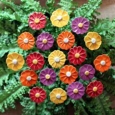 2er Set Deko-Blüte Blume Steinblüte Grabdeko Grabschmuck Gartendeko 15//19 cm
