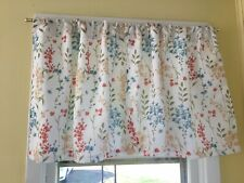 Pair of Blue, Coral, Green, and Yellow/Gold Tier Curtains (6 available)