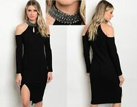 WOMENS LADIES LONG BLACK RIBBED CUT OUT SHOULDER BEADED DRESS SIZE 10 12 14