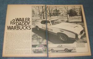 """1972 Hurst/Olds Pace Car Vintage Info Article """"A Wailer for Daddy Warbucks"""""""