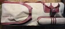 Vintage Retro ADIDAS Tennis Bag Tasche, 70's Leder, Creme Rot