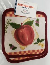 "Set of 2 Printed POT HOLDERS, 7"" x 7"", AN APPLE IN DIAMOND w/ burundy back by AM"