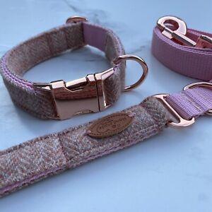 Blush Pink Tweed Dog Collar Lead Set Rose Gold Metal Buckle Puppy Hunter & Co.