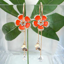 Navachi Butterfly Flower Zircon 18K GP Crystal Hoop Orange Enamel Earrings B2898