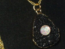 BLACK DRUZY AGATE CRYSTALS FLOATING OPAL SNOW GLOBE PENDANT NECKLACE  18K GF