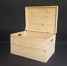 Large Plain Wood Box Wooden Chest Storage Craft Handles Lid 40x30x23cm