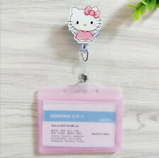 Cute Pink Hello Kitty ID Holders Identity Badge Retractable Card Case Girl Gift
