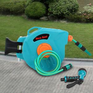 65' Auto Rewind Retractable Hose Reel Garden Watering Wall Mounted +Pressure Gun